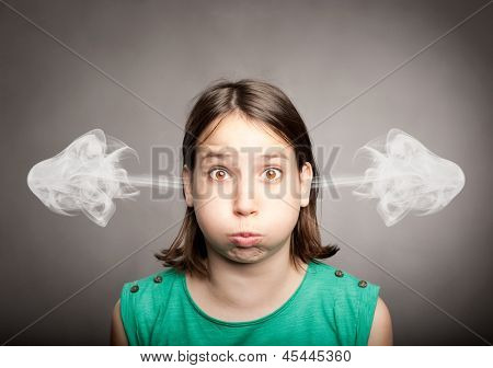 young girl with smoke on her ears