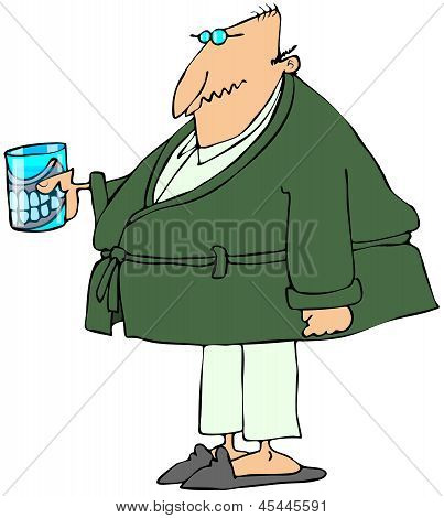Old man with teeth in a glass