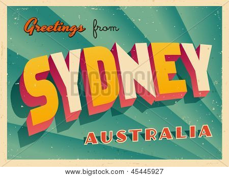 Vintage Touristic Greeting Card - Sydney, Australia - Vector EPS10. Grunge effects can be easily removed for a brand new, clean sign.