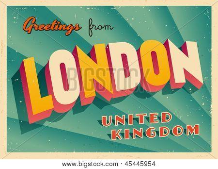 Cartão turístico vintage - Londres, Reino Unido - vetor EPS10. Efeitos grunge podem ser easil