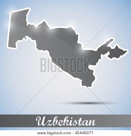 shiny icon in form of Uzbekistan