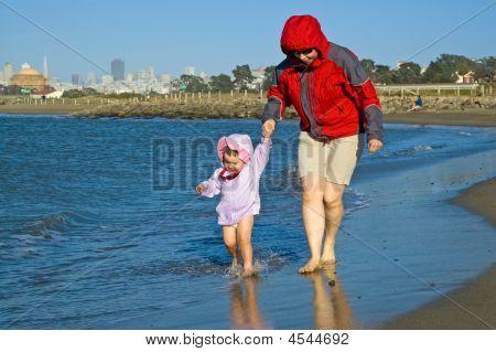 Beach Walk By San Francisco Bay