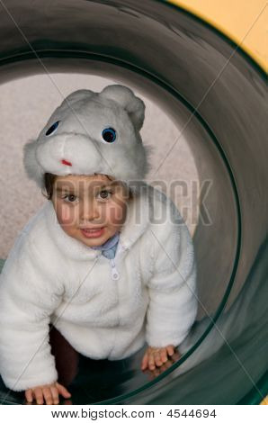Child In The Tube On A Playground