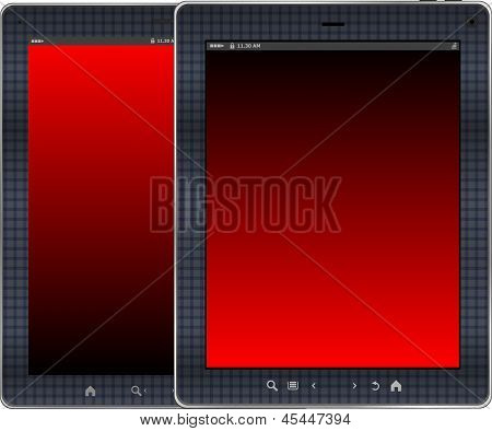 Photo-realistic Illustration Of Red Colored Vertical Tablet Pc Set