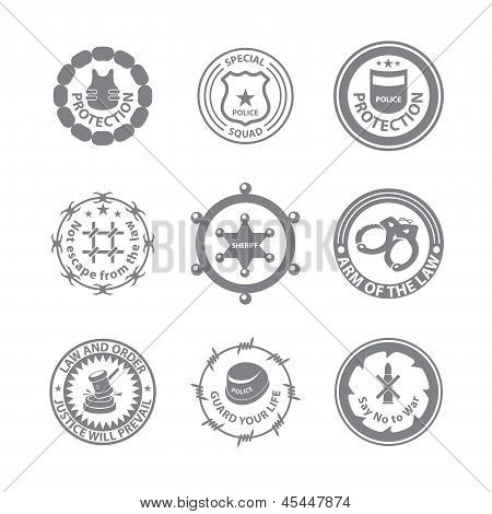 Set Of Protection Badges And Labels