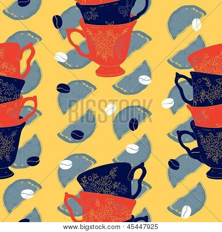 Vector Elegant Cup of Coffee Citrus Seamless Pattern