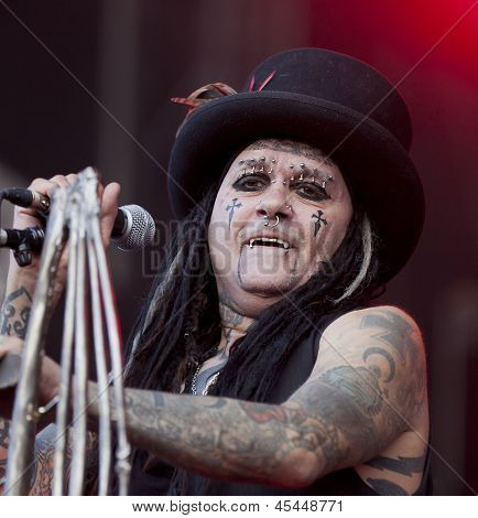 Ministry performs live on stage at Tuska Festival