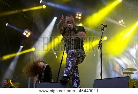 Sabaton performs live on stage at Tuska Festival