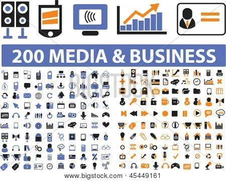 200 universal icons: media, communication, connection, music, marketing, presentation, internet, website, money, business objects set, vector