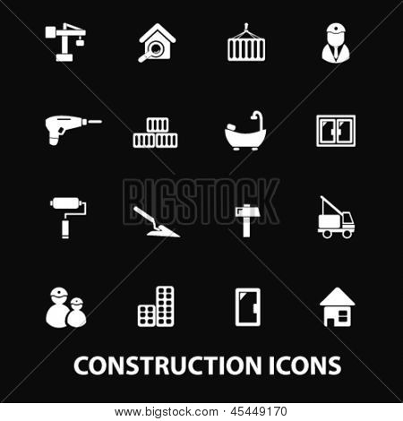 construction, repair services: doors,windows, tools, builder, constructor, crane white isolated icons, signs on black background for design template, vector set