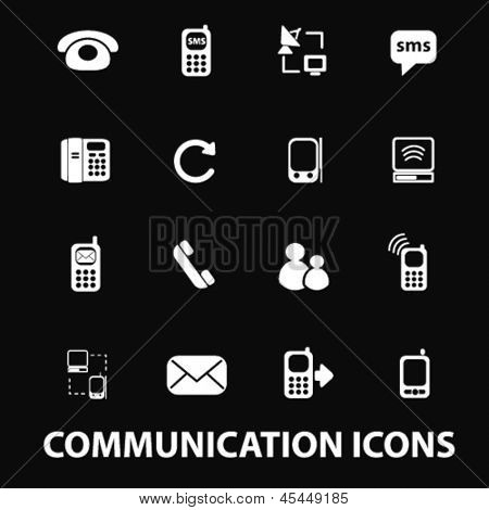 communication, phone, email, mail: white isolated icons, signs on black background for design template, vector set