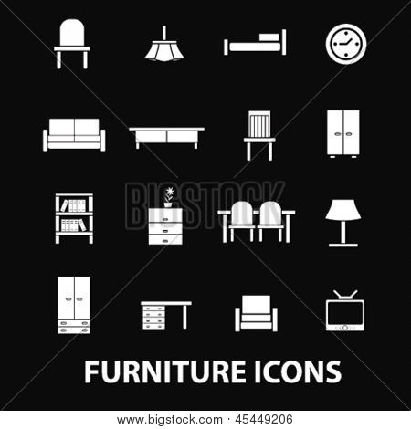 furniture, home interior design isolated elements, objects, icons, signs on black background, vector set