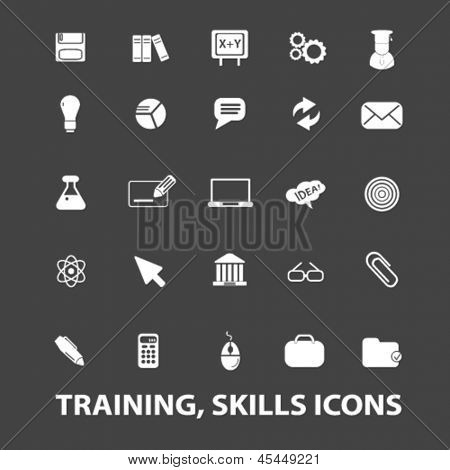 training, skills, education, school white isolated icons, signs on black background for design template, vector set