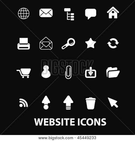 website, internet white isolated icons, signs on black background for design template, vector set