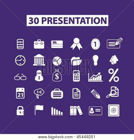 business, presentation, marketing, management, infographics isolated icons, signs set, vector