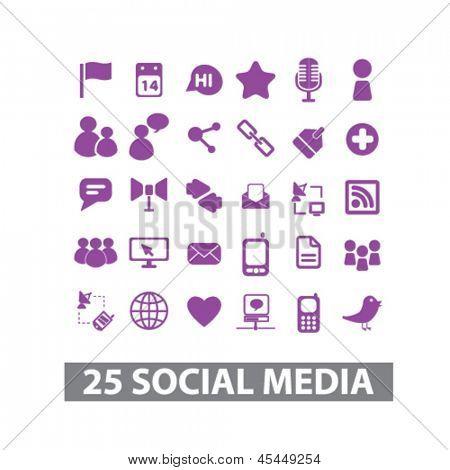 redes de mídia social, blog, site internet, conjunto de ícones web isolada, vetor