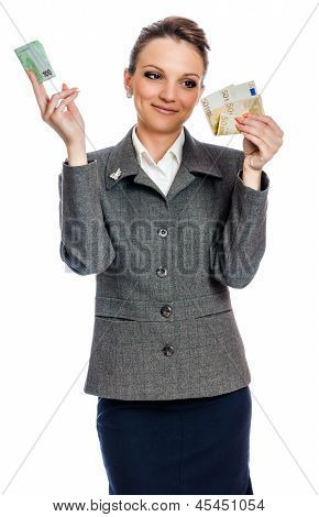 young woman spending money