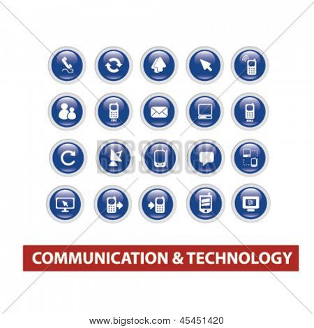 communication, connection, internet, computer blue glossy circle icons, buttons set, vector
