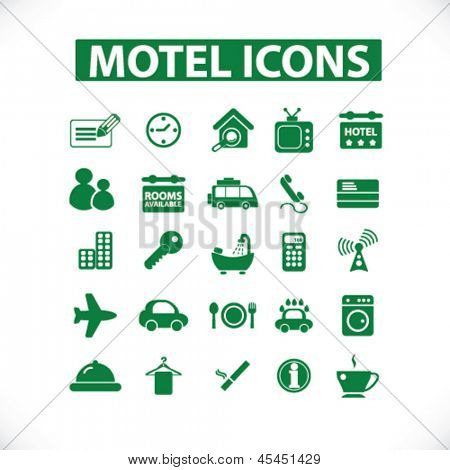 green ecology motel, hotel isolated icons, signs set, vector
