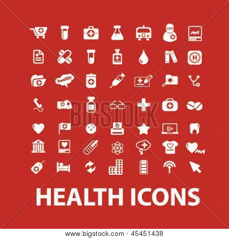 health, medical, hospital white isolated icons, signs set on red background