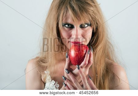 portrait of a woman with an apple