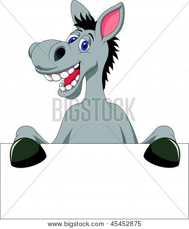Donkey cartoon with blank sign