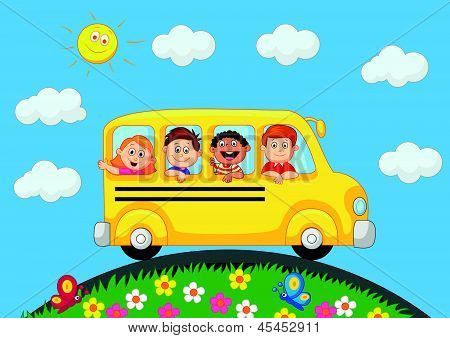 School Bus With Happy Children cartoon