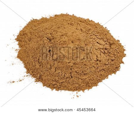 Ground Cassia (Cinnamon) Isolated On White Background