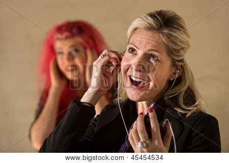 Obnoxious Woman Listening To Music