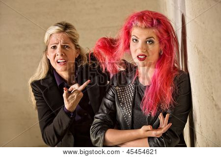 Upset Mother With Teen Hairdo