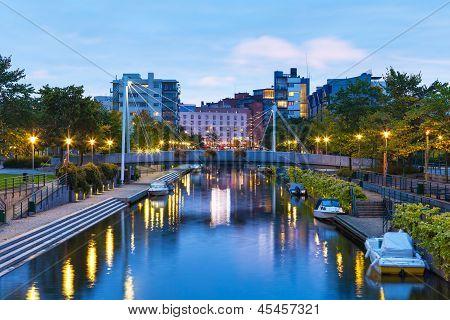 Ruoholahti Canal in Helsinki, Finland