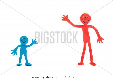 The red smiling man and blue son