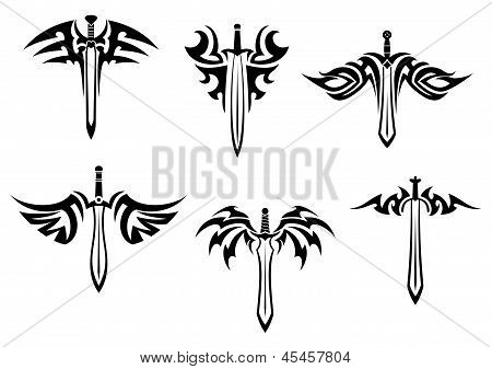 Tribal tattoos with swords and daggers