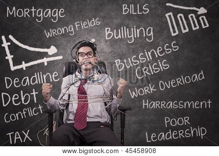 Stress Businessman Tied At Classroom