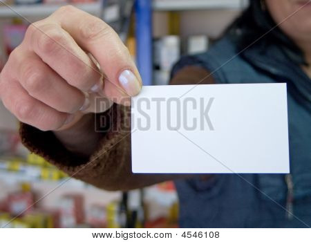 Woman Holding Blank Credit Card