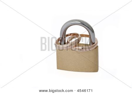Golden Rings In Padlock