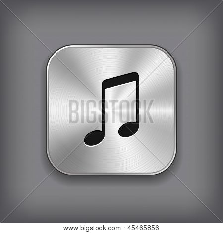 Music Note Icon - Vector Metal App Button
