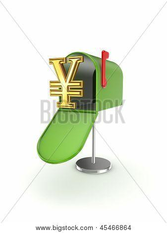 Symbol of yen in postbox.
