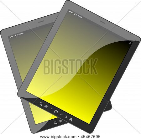 Photo-realistic Illustration Of Different Colored Vertical Tablet Pc Set
