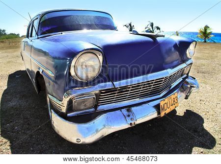 Classic Old Car Blue Color