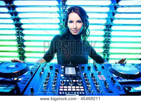 Attractive Girl Dj In Nightclub