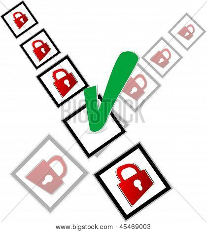 Green Check Box And Red Padlock Set On Check Mark List