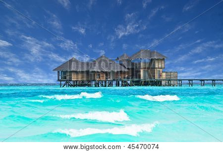 Beautiful water house in Maldives
