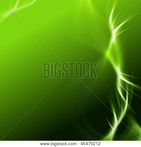 Green Background With Lights And Lines