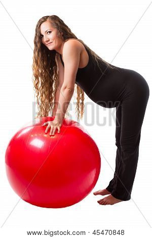 Pregnant Fitness Woman Doing Exercise On Fitball On White Background   The Concept Of Sport And Heal