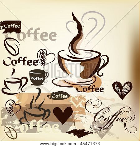 Coffee  Grunge Vintage Vector Design With Coffee Cups, Grains And Signs