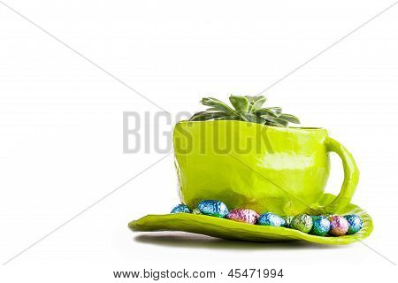 chocolates in saucer