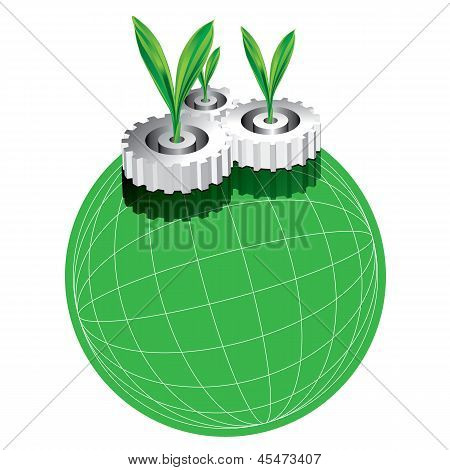 Green With Gear Concept Vector