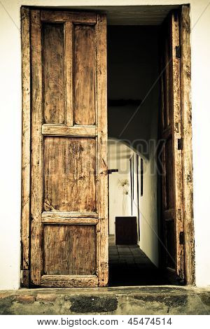Door of an old spanish hacienda color processed