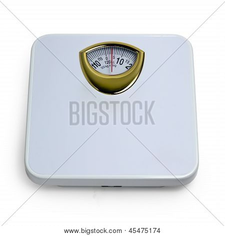 control weight  by floor scale isolated dieting concept